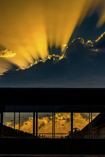 Slovak sunset No People Outdoors Day Sky Sunset Scenics Adapted To The City Canon Illuminated Travel Destinations Tranquility Silhouette Architecture Dramatic Sky Slovakia🇸🇰 TrenčianskeTeplice Summertime Scenic View Birds Windows Clouds