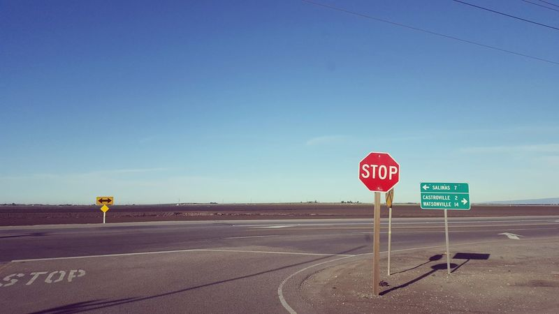 Ontheroad Road Roadtrip Road Sign Stop Sign Road No People Sky Clear Sky Blue Journey Wheretogo California USA United States Vintage Vintage Photo Vintage Style Retro Retro Style Retrophoto Phone Camera EyeEmNewHere