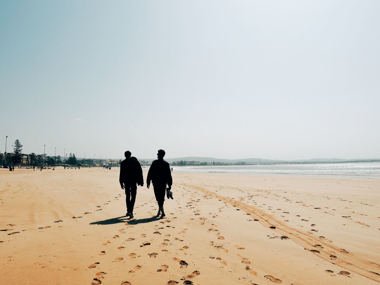 sand, beach, walking, sea, real people, full length, rear view, clear sky, nature, two people, scenics, men, togetherness, horizon over water, lifestyles, beauty in nature, day, vacations, outdoors, sky, water, sand dune, mammal, people
