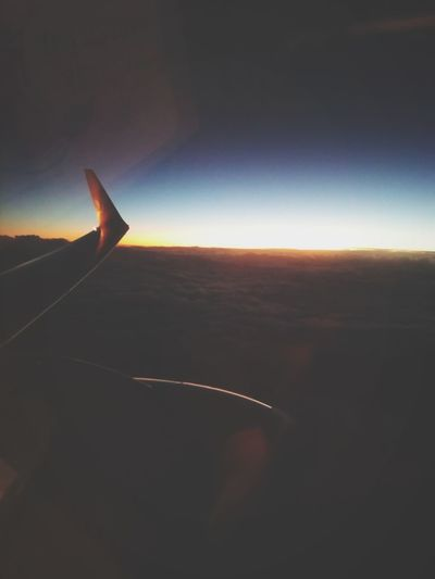 Airplane Travel Flying Aerial View Aircraft Wing Sunset Sky No People Outdoors Scenics Beauty In Nature Eyesight Cloud - Sky