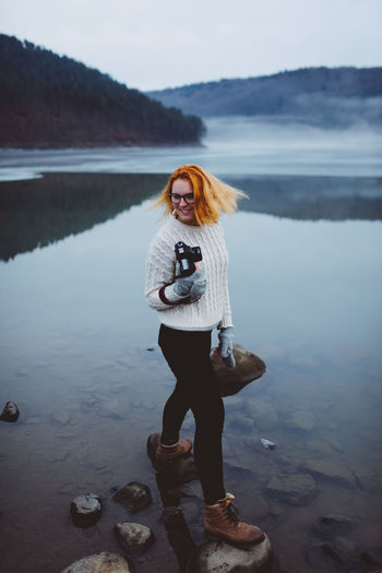 Snowy landscape with fog. Shot with Nikon d610 + Sigma 35mm 1.4 ART Location: Zetea Dam, Transylvania, Romania 2017. Beauty In Nature Foggy Lake With Trees Foggy Landscape Happy Time Lake Side View Leisure Activity Lifestyles Looking At Camera Orange Hair Orange Head Portrait Young Adult Autumn Mood The Modern Professional