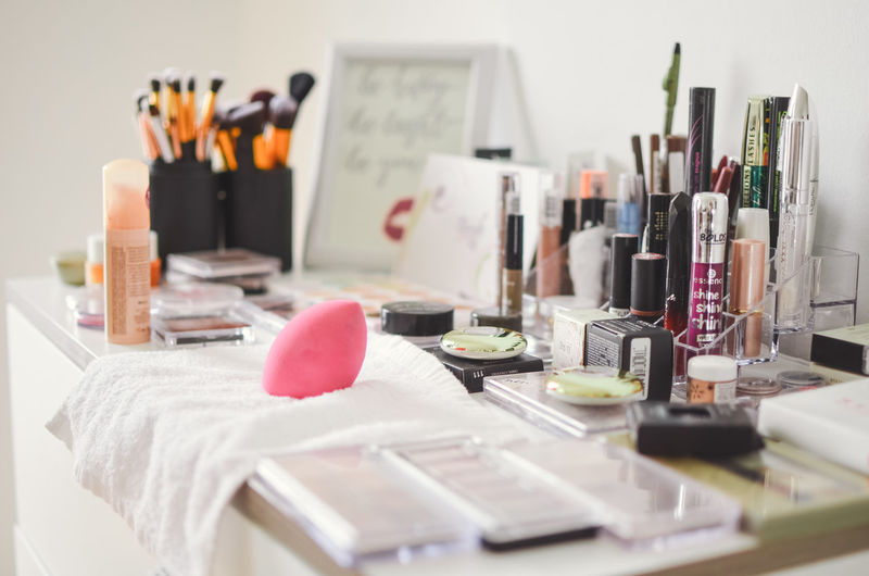 Indoors  Table Large Group Of Objects Art And Craft Still Life Brush Paintbrush Creativity No People Choice Selective Focus Beauty Product Variation Multi Colored Desk Organizer Craft Art And Craft Equipment Container Make-up Paint Watercolor Paints