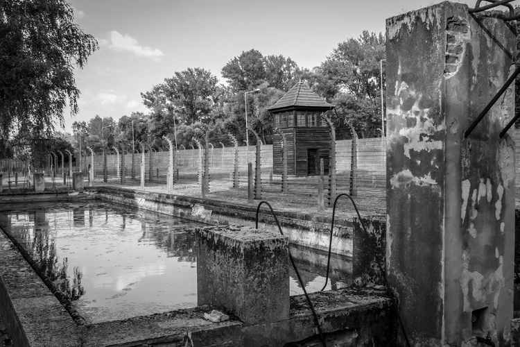Auschwitz Auschwitz  Auschwitz Birkenau Tree Plant Water Sky Nature No People Built Structure Day Building Exterior Reflection Architecture Outdoors Lake Old Abandoned Mode Of Transportation Transportation Damaged Obsolete