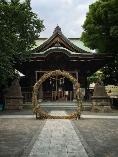 近くの神社に大きな縄の輪を発見。これは何だろう? Shrine