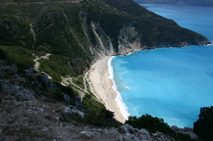 Beach Cliff Coastline Kefalonia Kefalonia, Greece Mountain Myrtos Beach Outdoors Scenics Sea Tourism Tranquil Scene Water