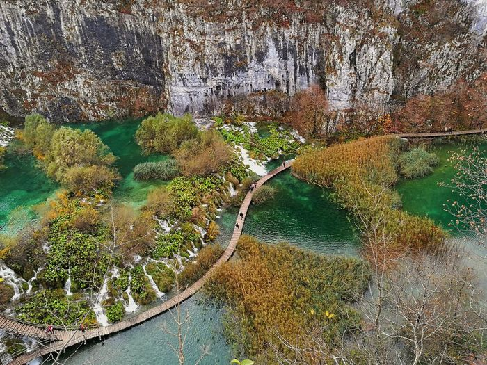 High angle view of plitvice lakes national park