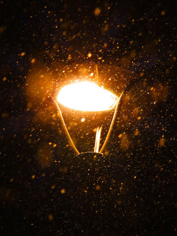 Light And Snow Snowing ❄ Black And Orange Burning Close-up Flame Glowing Heat - Temperature Illuminated Indoors  Lighting Equipment Night No People Snow Snoweffect