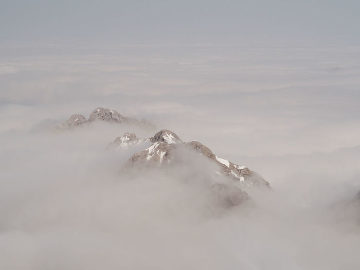 in the sky Travel Sky Sky And Clouds Mountain Snow Winter Cold Temperature Fog Mountain Thick Animal Themes Tranquil Scene Calm Idyllic Tranquility Non-urban Scene