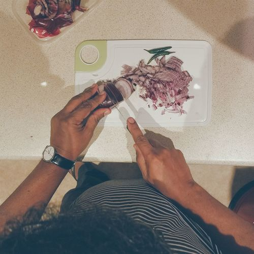 A Bird's Eye View In The Kitchen Cutting Onions