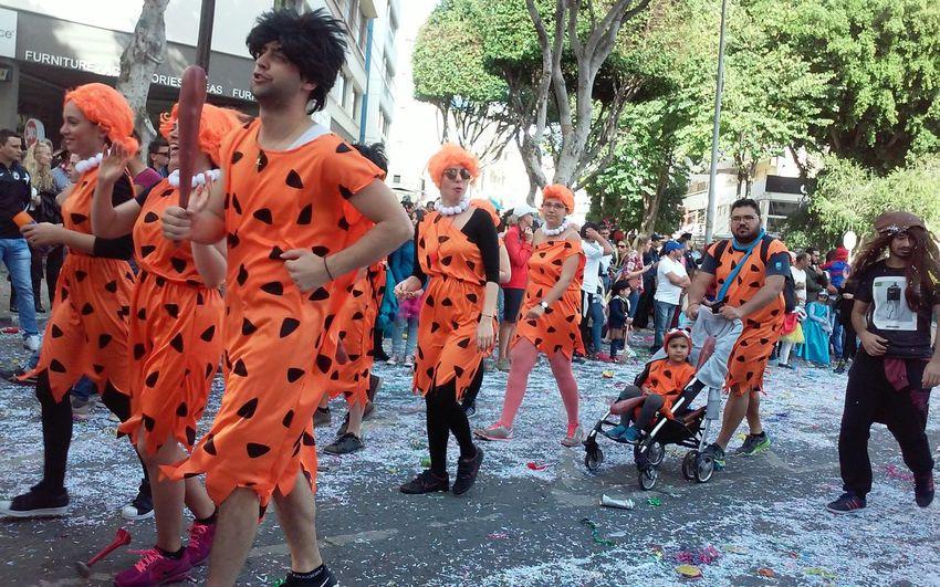 Carnival Carnival Fun Carnival Parade Cave Men Costume Cyprus Fun Funny Limassol Orange Color Orange Costume Real People