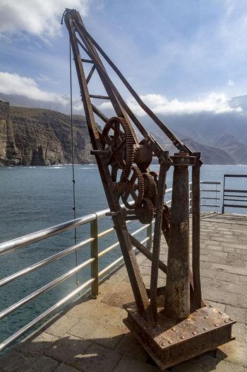 Crane Derelict Machine Metal Old Port Rusty Rusty Metal Sea Waterfront