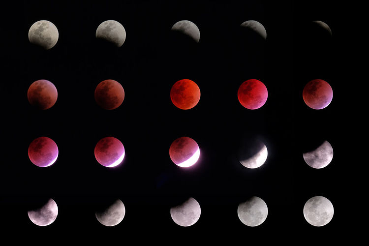 phases of lunar eclipse Nature Night Moonlight Moon Lunar Orbit Science Space Universe Solar Sky Shadow Full Phase Black Background Astronomy Cosmos Circle Eclipse Telescope Total Umbra Surreal Sun Sphere Stages Galaxy Spaceward Astrology Supermoon Surface Light Cycle Dark World Partial Penumbra Abstract Cosmic Orange Moonshine Crater Progression  Face Blood Luna Round Red Earth
