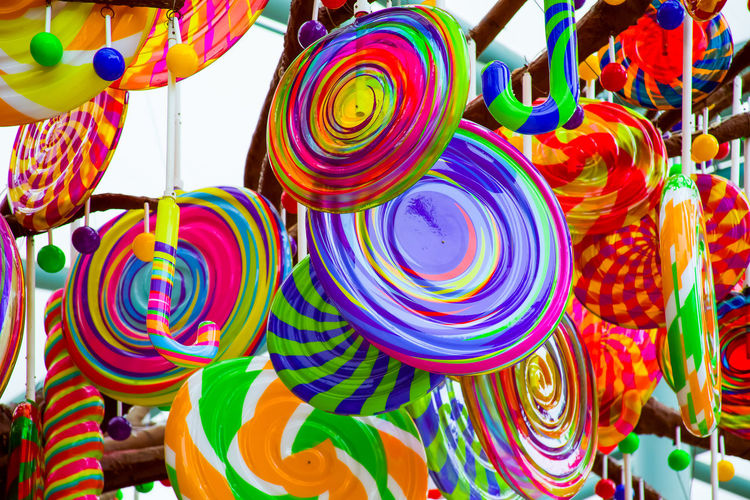Full frame shot of multi colored toys for sale in market