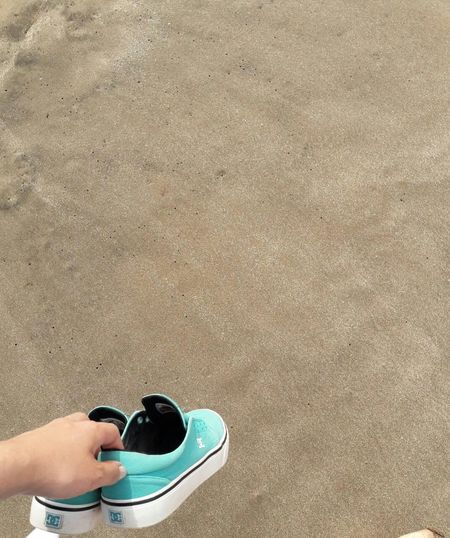 # #summer #photography #shoes #fashion #design #Nature  #landscape #nature #photography #beach #beautiful #JustMe #bored One Person High Angle View Beach Shoe Standing Day Real People