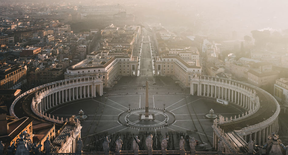 view from the st Peter's basilica'ss top to the square in vatican city Architecture Building Exterior City Built Structure Travel Destinations Cityscape Tourism Travel High Angle View Crowd Building Day Nature Religion City Life Crowded Belief History Outdoors