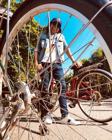 Bicycle Transportation Real People Men Casual Clothing Full Length Young Men