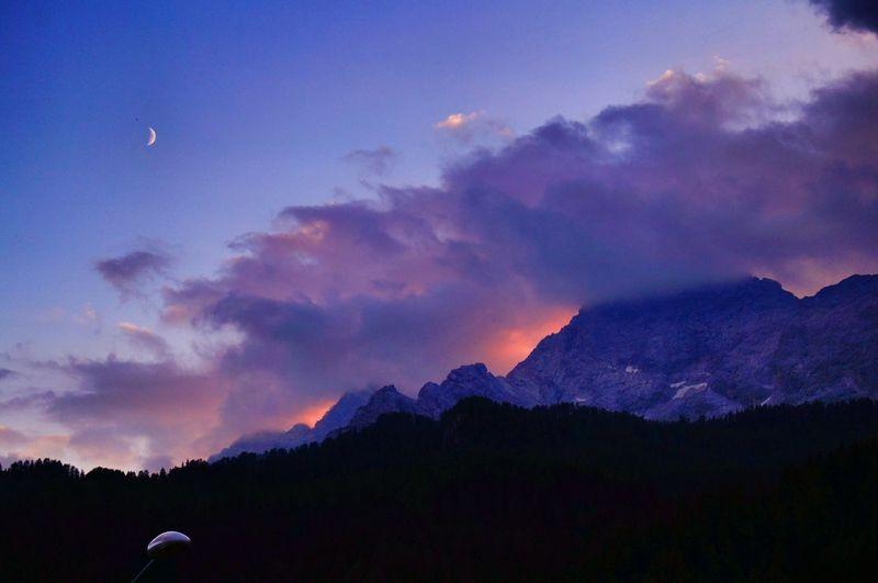 Sunset Moon Moonlight Mountain