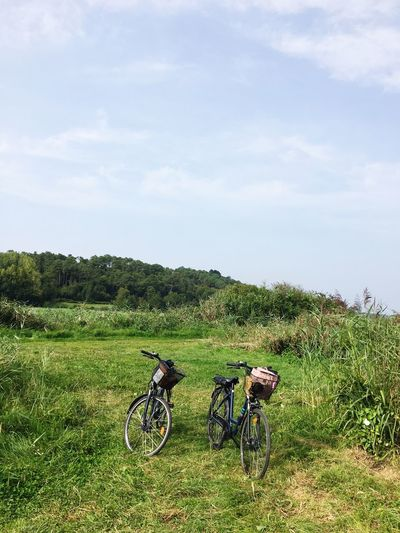 Bicycle Adventure Sky Nature Grass Landscape Field Transportation Tranquil Scene Journey Tranquility Day Travel No People Outdoors Beauty In Nature Scenics