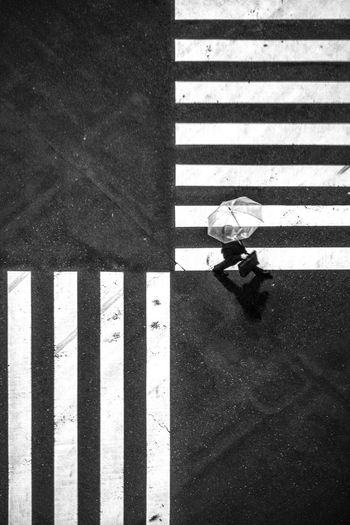 Art of Crossing ► Streetphotography Monochrome Blackandwhite Zebra Crossing Striped Road Marking Walking High Angle View Safety Street Road Real People Transportation