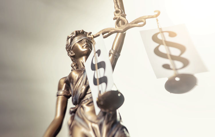 The Statue of justice with Paragraphs signs - Justitia the Roman goddess of Justice Blind Bronze Crime Jury Justitia Lady Lawyer Legal System Sign Statue Statue Of Liberty Balance Close Up Courthouse Courtroom Criminal Decision Equality Gavel Judicial Justice Law Legislation Paragraph Sculpture Garden