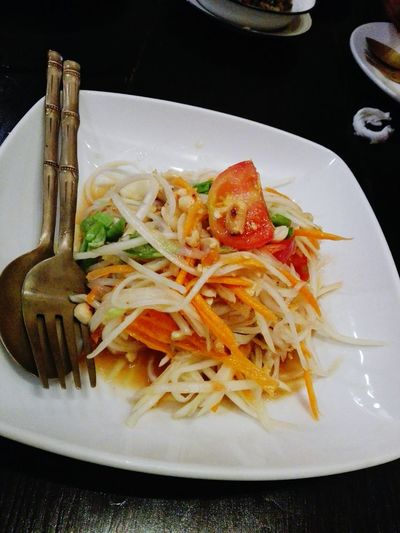 Plate No People Food Ready-to-eat Food And Drink Indoors  Freshness Healthy Eating Appetizer Close-up Comfort Food Day Thai salad Thai Papaya Salad Thai Food Thai Style Thai Salad With Raw Papaya