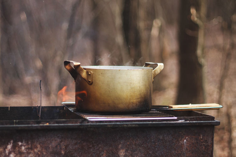 BBQ Breakfast Coffee Fire Metal Morning Outdoors Selective Focus Spring Springtime