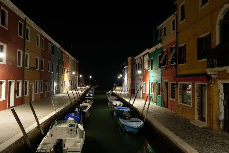 Building Exterior Architecture Built Structure Transportation Night Mode Of Transportation Nautical Vessel City Illuminated Building Water No People Canal Street Nature Residential District Moored Outdoors Sky
