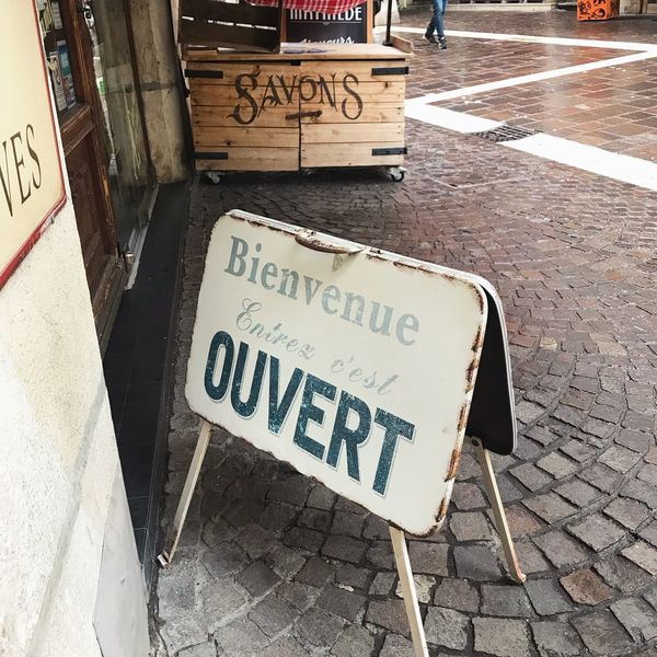 Taken in Annecy, France. A retro and vintage French sign, complete with French typography and lettering. An old rusty sign on French cobbles. Travel Destinations Blogger Travel Destinations Design Type Sign IPhoneography Travel Destinations Travel Cobblestone Lettering Typography France 🇫🇷 France French Annecy Annecy, France Text Western Script Communication Capital Letter Street Day Outdoors No People Sidewalk Road Placard City Close-up