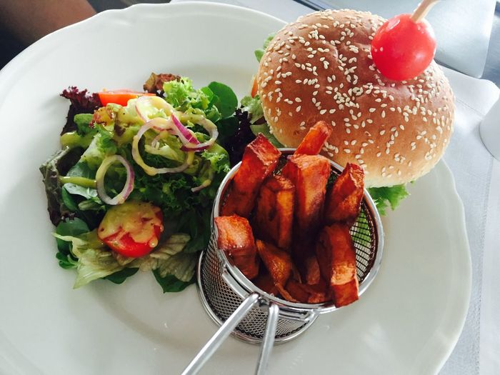 Burger Time Food Freshness Meal Meat Plate Ready-to-eat Salad Served Serving Size Sweetpotatofries Temptation