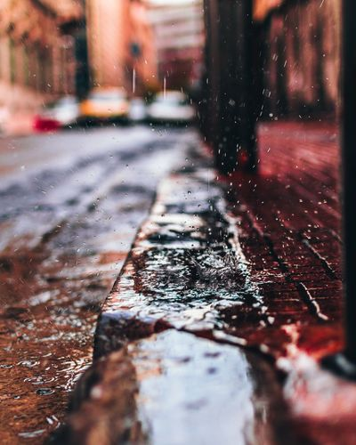 Surface level of wet footpath in winter