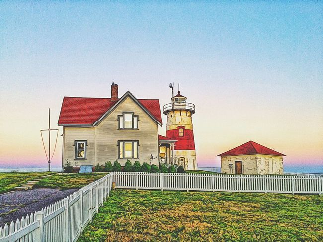Sunset at Stratford Point... Historical Historical Building Historic Coast Guard Outdoors Outside Golden Hour Sunset Lighthouse_lovers Lighthouse Stratford Point Lighthouse Stratford Connecticut USA New England  Hidden Gems