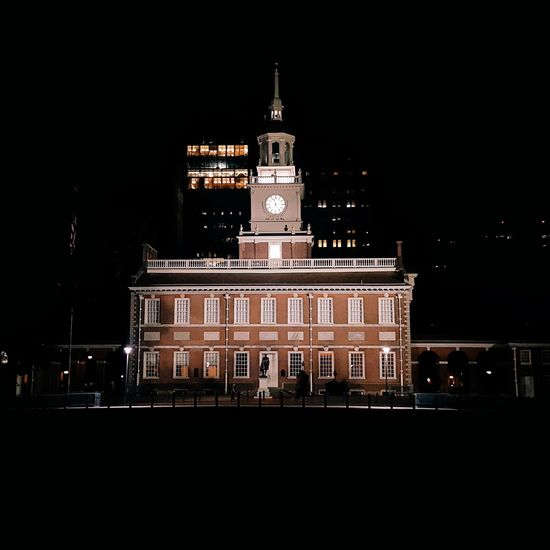 Night History Politics And Government Outdoors Architecture Building Exterior Philadelphia IndependenceHall Arts Culture And Entertainment No People Illuminated Black Background First Eyeem Photo