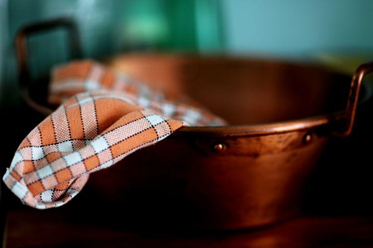 Fabric in copper bucket