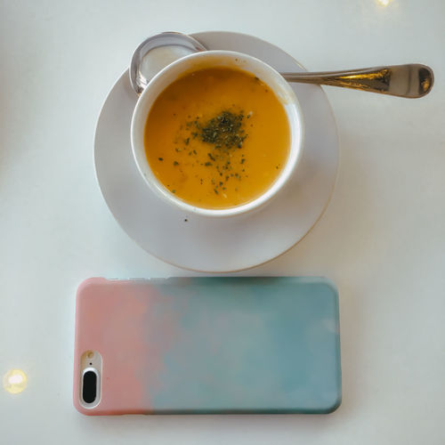 Close-up of soup on table