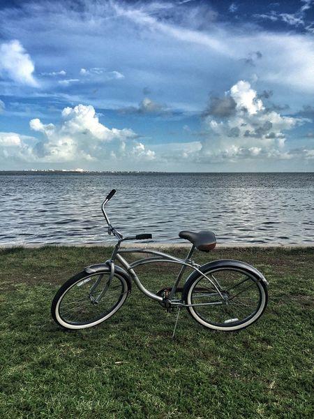 Bycicle Bicycle Sea Seaside Seascape Grass Horizon Over Water Horizon Miami