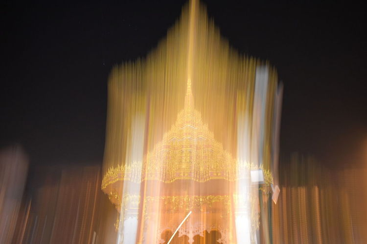 night, buddhist temple, temple gate, Abstract Abstract Blurry Buddhist Temple Main Gate Blurry Carousel Close-up Illuminated Indoors  Night No People
