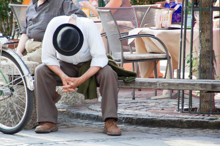 Streetphotography Street displaced person tired lonesome old