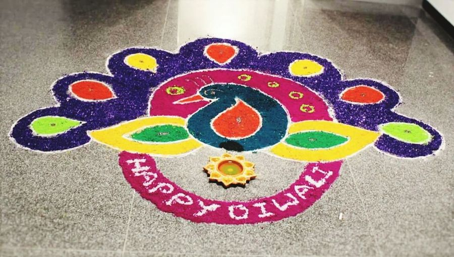 Happy Diwali Multi Colored Heart Shape No People ArtWork Rangoli Deepavali  Diwali