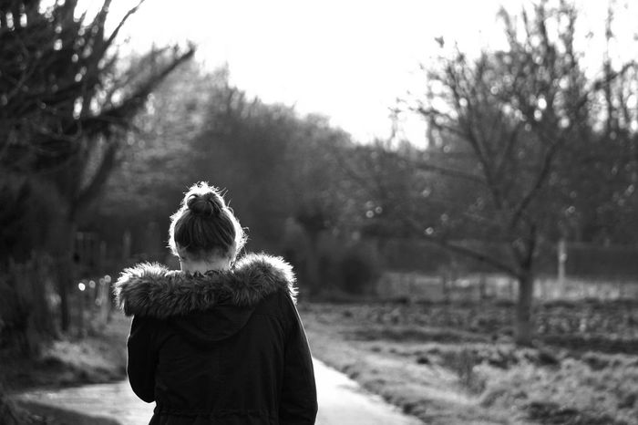 Blackandwhite Enlightened Girl Light Light And Shadow Nature Outdoors Portrait Portrait From Behind Rear View The Portraitist - 2016 EyeEm Awards Warm Clothing Winter Woman