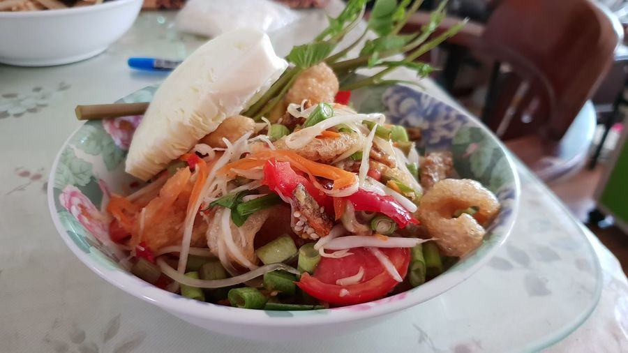 Papaya salad (Som tum) Food Thai Thaifood Papaya Salad Salad Healthy Eating Somtum Somtumthai Thaifood Bowl High Angle View Plate Close-up Food And Drink Prepared Food
