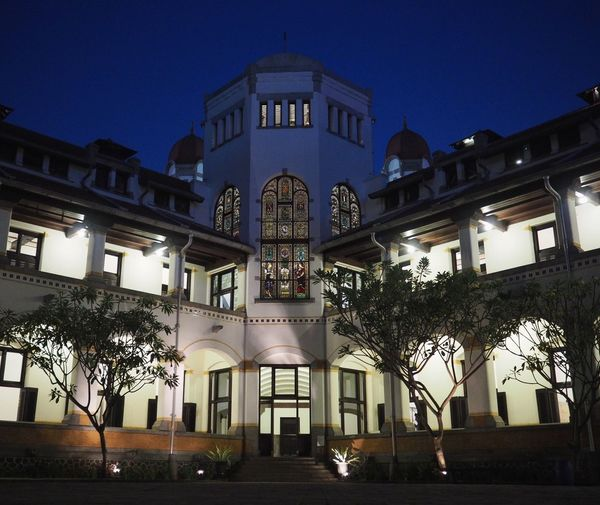 Lawang Sewu Architecture Building Exterior Built Structure Illuminated Low Angle View Night No People Tree Outdoors Statue City Sky