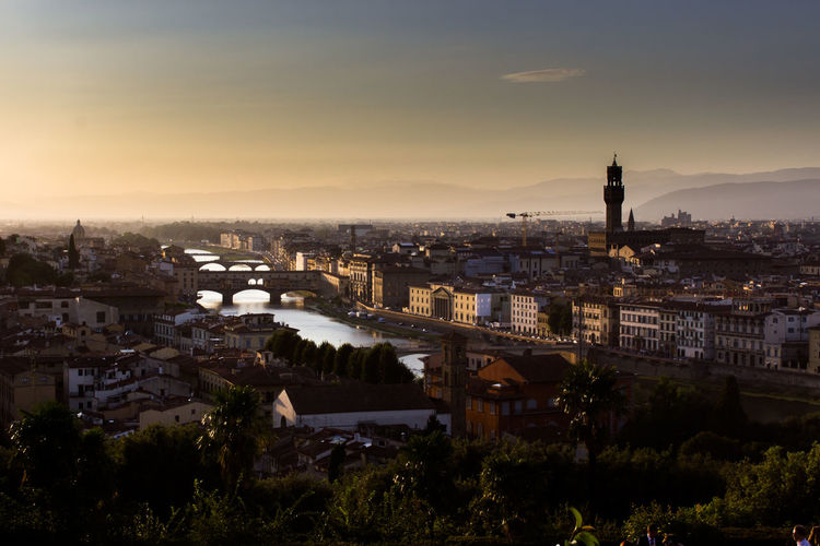 Firenze Florence Italy Rinascimento Architecture Belvedere Building Exterior Built Structure Chain Bridge City City Location Cityscape Community Day Florence High Angle View Nature No People Outdoors River Sky Sunset Travel Destinations Tree Urban Landscape Water