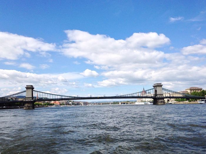 The Széchenyi Chain Bridge Bridge - Man Made Structure Connection Architecture Suspension Bridge Built Structure Engineering Sky Cloud - Sky Transportation Outdoors Day River Water No People Travel Destinations Low Angle View City Nature