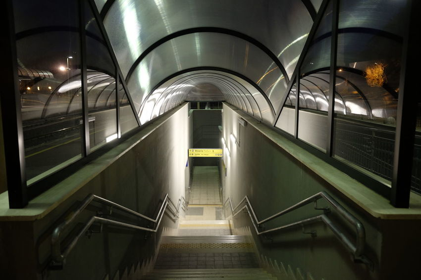 entrance with stairs for underpass Dark Entrance Modern Architecture Station Underground Underpass Architecture Concept Illuminated Indoors  Lighting Equipment Modern Night Passage Steps Steps And Staircases Subway Tunnel