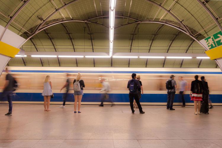 People on railroad station