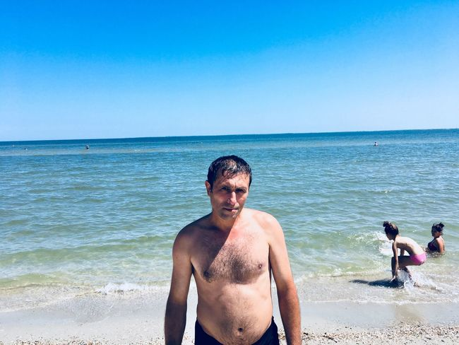 Daddy❤ Sea Water Beach Land Sky Horizon Over Water Horizon Nature Leisure Activity Men Beauty In Nature Blue Real People Shirtless Clear Sky Scenics - Nature Outdoors Day Lifestyles Holiday