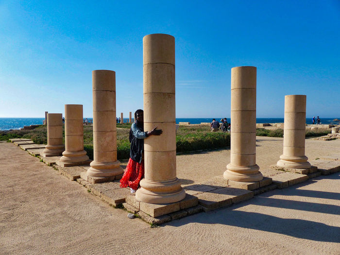 Caesarea archaeological park with pillars Caesarea's Antiquities Park Architectural Column Architecture Blue Built Structure Caesarea Caesarea, Israel, Keysarya, Palestine, Arab, Jew, Israeli, Palestinian Clear Sky Day Israel Nature Outdoors Shadow Sky Sunlight