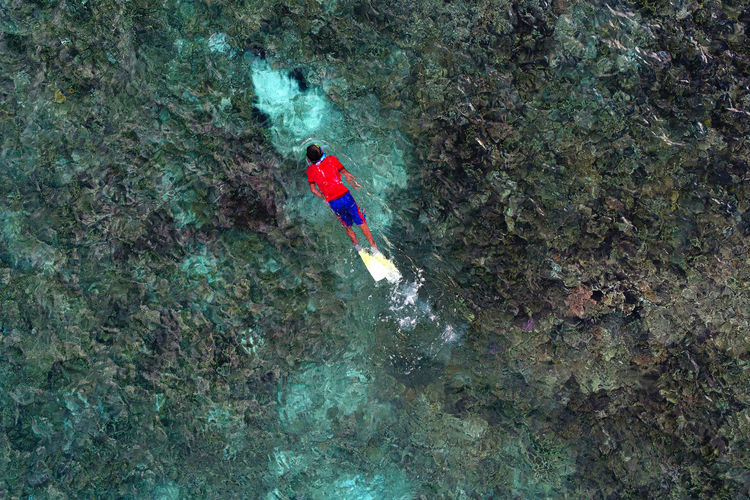 High angle view of person on rock in sea