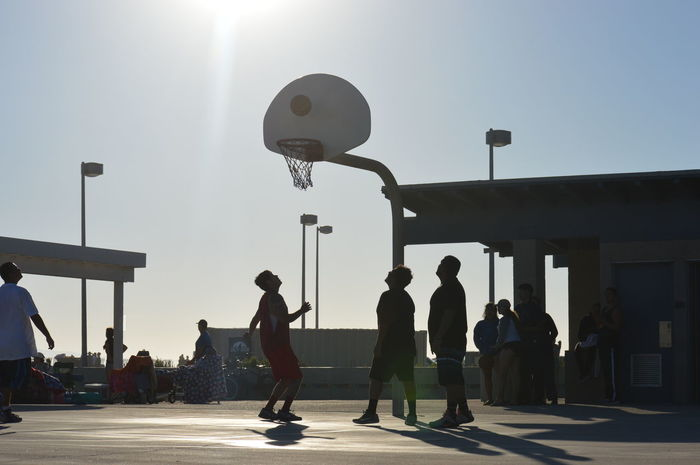 Adult Architecture Basketball - Sport Built Structure Clear Sky Court Day Full Length Large Group Of People Leisure Activity Lifestyles Men Outdoors People Real People Shadow Silhouette Sky Sport Stadium Sun Sunlight Women
