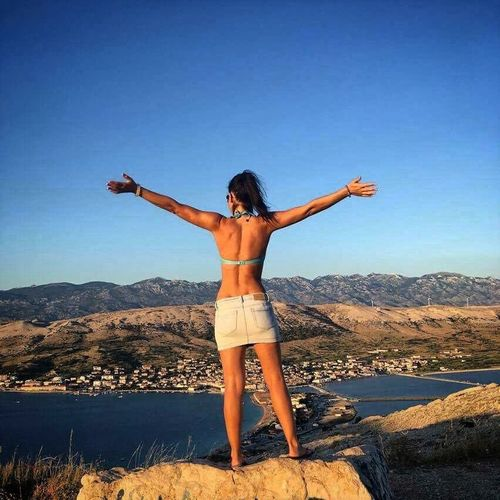 Freedom Sunshinelovers Croatia Freedom One Person Sunlight Standing Holiday Vacations Beauty In Nature Trip Sky Day Mountain Arms Raised